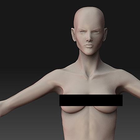 female slim 3d 3ds