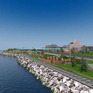 3d seaside city theme park