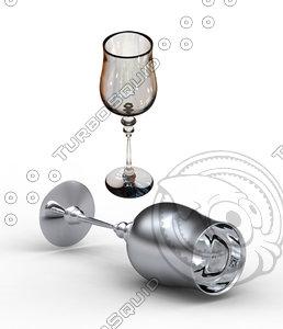 3d antique wine glass