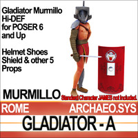 roman gladiator murmillo set 3d model