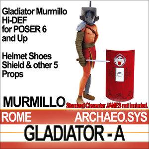 roman gladiator murmillo set 3d model