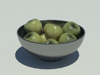 3d stainless steel bowl apples model