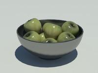 3d stainless steel bowl apples model