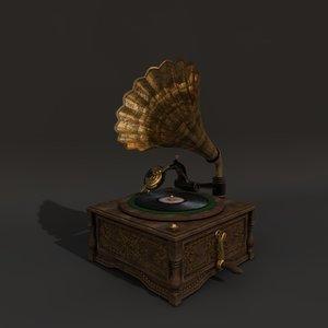 old horn gramophone 3d c4d