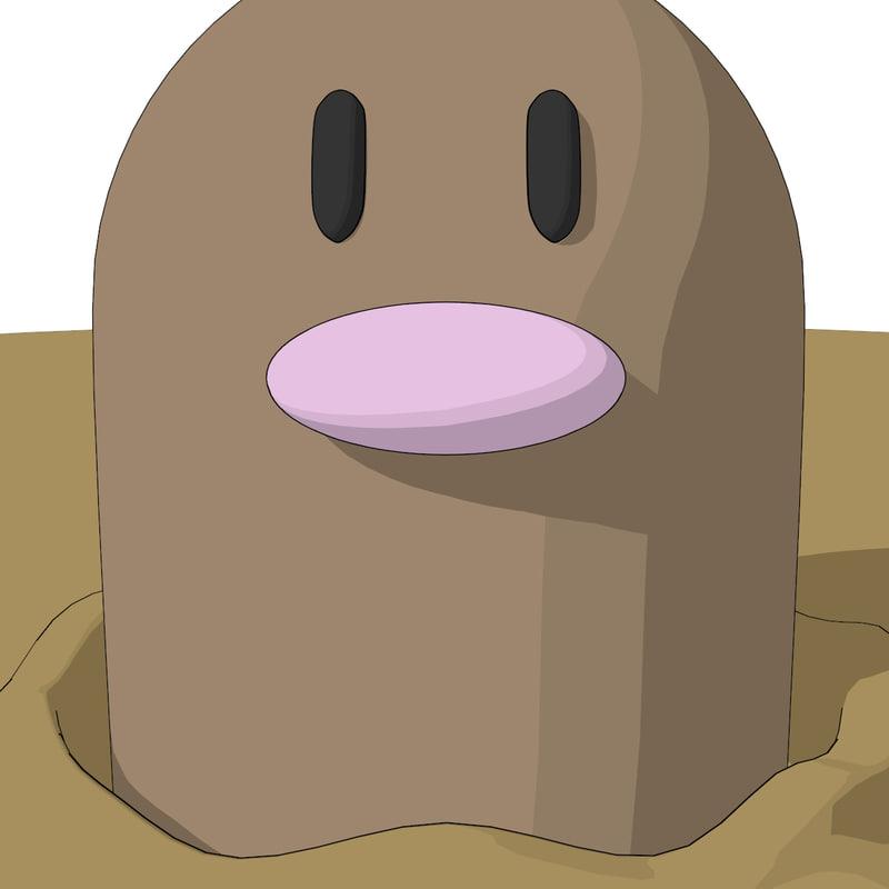 3d pokemon diglett model