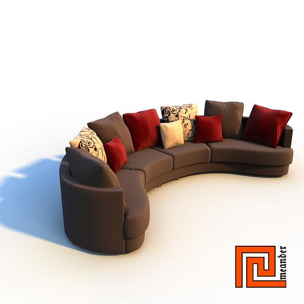 3d stylish sofa interior model