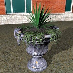 garden urn ivy 3d c4d