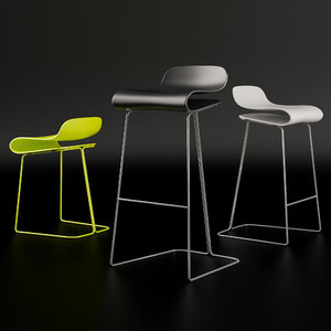 3d model of kristalia bcn sgabello bar stool