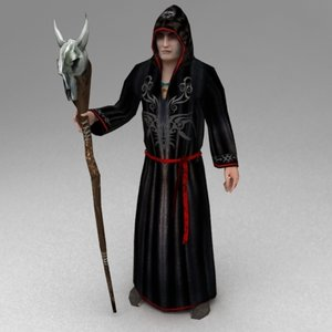3d model staff monk necromancer