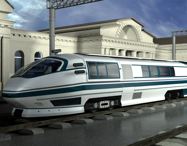 3d modern train railroad model