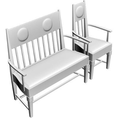 3d armchair bench