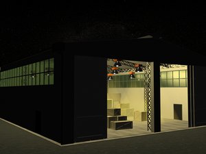 warehouse storage factory 3d max