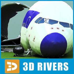 crashed plane 3d model