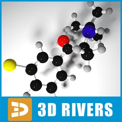3d model bupropion molecule structure