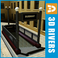 3d chicago subway entrance model