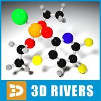 3d chlorpyrifos molecule structure