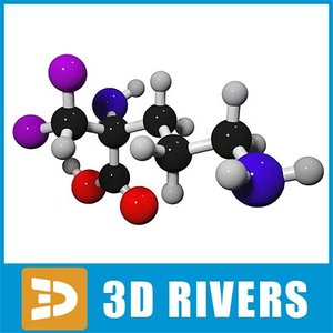 3d eflornithine molecule structure model