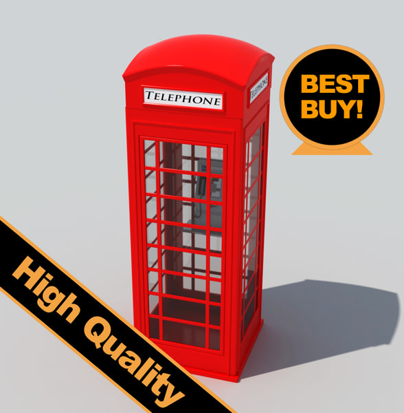 british public phone cabin 3d model
