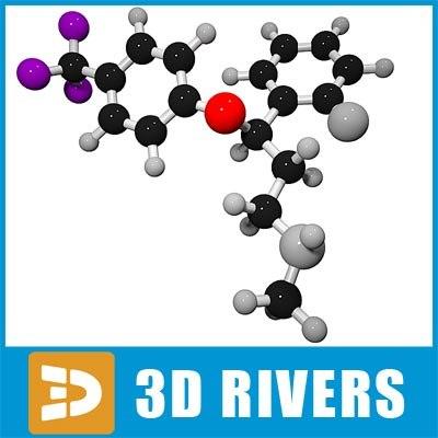 3d model fluoxetine molecule structure