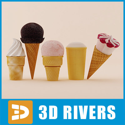 3d cone ice cream set