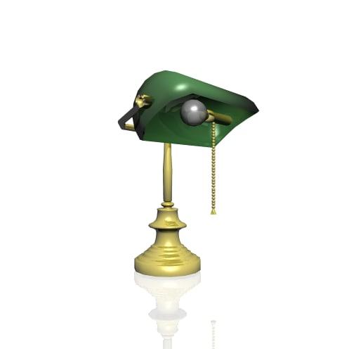 banker desk lamp 3d model