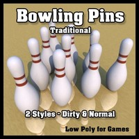 Low Poly Bowling Pins - Traditional