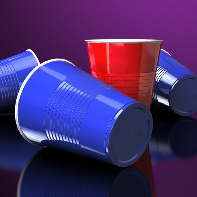 3d party cups scale -