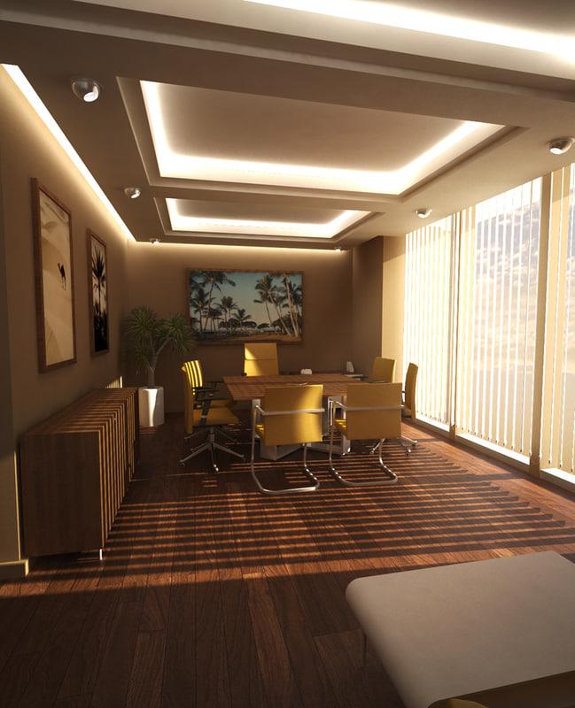 3d 3ds Chairman Office Scene Senior