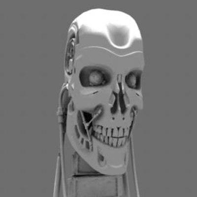 cyborg skull terminator 3d model