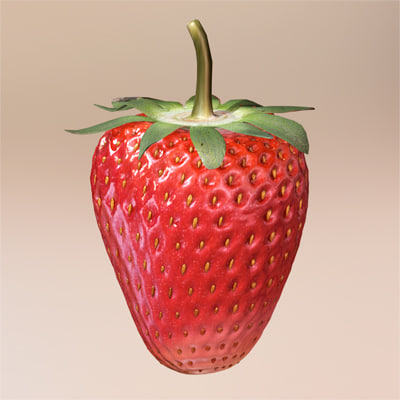 strawberries fruit 3d model