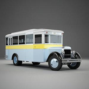 vintage bus city 3d max