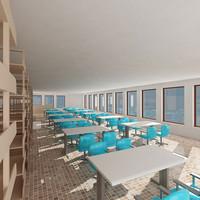 3d library classroom model