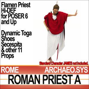 3d roman priest flamen set model