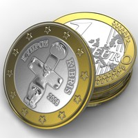 3d model coin 1 euro cyprus