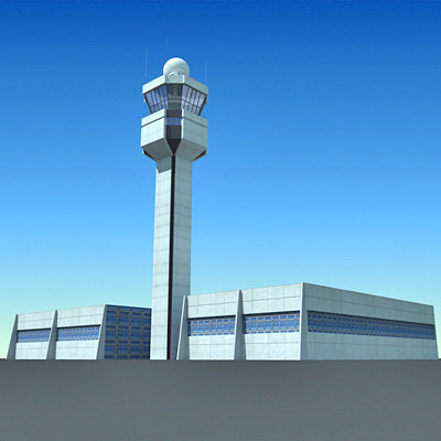 airport control tower 3d 3ds