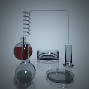flasks laboratory 3d max