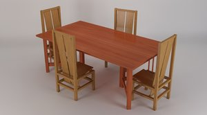 3d model dining table 4 chairs
