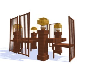 robie house table chairs 3d 3ds