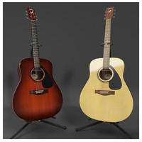Acoustic Guitar and Guitar Stand with Hres texture
