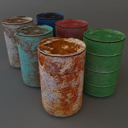 3d model old metal barrels
