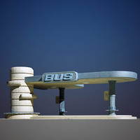 3d old bus shelter model