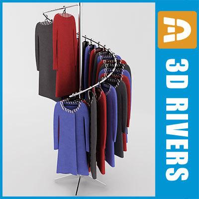 3d model retail clothing rack dresses