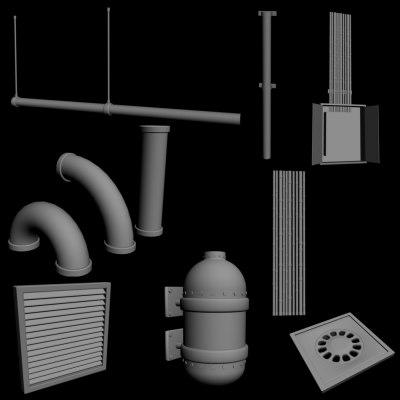 3d 8 objects basement model