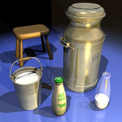 milk bottle 01 bucket 3d model