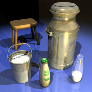 milk bottle 01 bucket 3d model