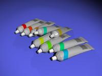 metal paint tubes 3d model