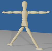artist puppet wood character human 3d max