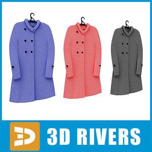 3d model ladies set clothes raincoat