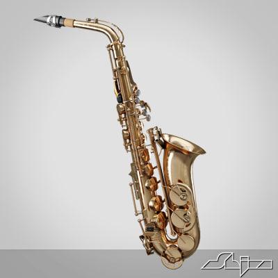 saxophone v-ray 3d model