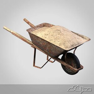 3d old wheelbarrow sand